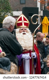 LOSSER, OVERIJSSEL / NETHERLANDS – NOVEMBER 17 2013: St. Nicolas is beïng interview through male.