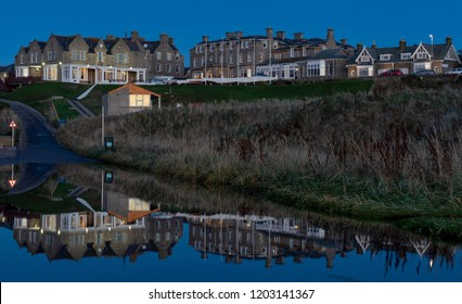 LOSSIEMOUTH, MORAY, SCOTLAND - 14 OCTOBER 2018: This is a view of the Moray Golf Club in Lossiemouth, Moray, Scotland on 14 October 2018 being reflected on a large pool of flood water.