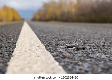 Lost a bunch of keys lying on the asphalt surface of the roadway