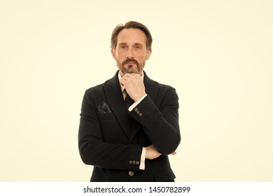 Lost in business thoughts. Mature businessman in formal wear. Fashionable aged business person. Senior man with grey beard hair. Bearded mature man in business style. Back to work in a suit and tie.