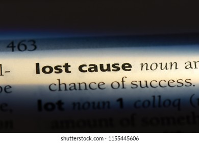 lost cause word in a dictionary. lost cause concept.