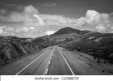 lost desert road in north Argentina quebrada - black and white picture