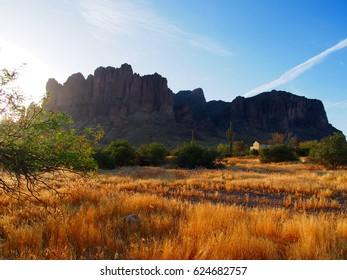 The Lost Dutchman at sunrise. Arizona. Tonto National Forest.