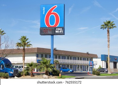 Lost Hills, CA - November 24, 2017: Motel 6 is an American privately-owned hospitality company with a chain of budget motels in the United States and Canada.