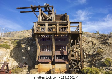 Lost Horse Gold and Silver Mine Platform and Rust Colored Industrial Machine Equipment in Joshua Tree National Park California USA