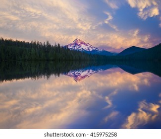 Lost Lake reflection of Mt hood at Sunset