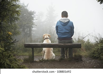 Lost man with his dog in mountain.