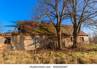 Lost places , Old, abandoned and partly collapsed farmhouse in Germany