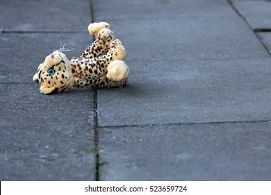A lost soft toy on the ground. The forgotten toys