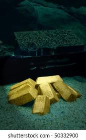 lost sunken pirate treasure chest, jewels and gold bars