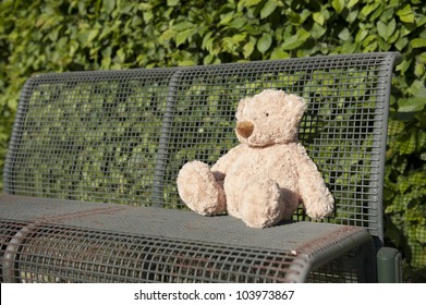 lost teddy bear seated on a iron bench
