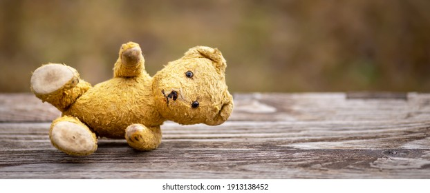 Lost toy bear lying, sad childhood, domestic violence concept, web banner