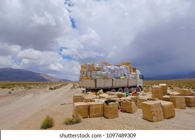 Lost truck load, the load spilled across the gravel road in the high andes mountains of northern Chile, South America