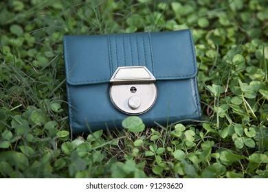 Lost wallet in green grass