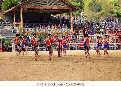 """""""Lotha tribe of Nagaland performing Ekhyo Shari (Victory dance), on the occasion of 19th Hornbill festival, held at Kisama heritage village, Kohima town, Nagaland, Northeast India  -3rd December 2018"""""""