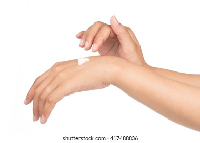 lotion in hands isolated on white background