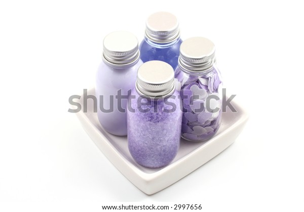 lotion salt body cream - bath accessories isolated on white