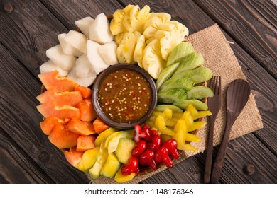 lotis buah or rujak. fruit with hot chili paste. indonesian traditional fruit salad