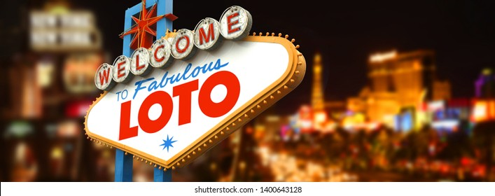 Loto on famous Las Vegas sign with casinos in background