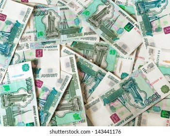 Lot's of 1000 rubles banknotes. Can be used as a background for your projects