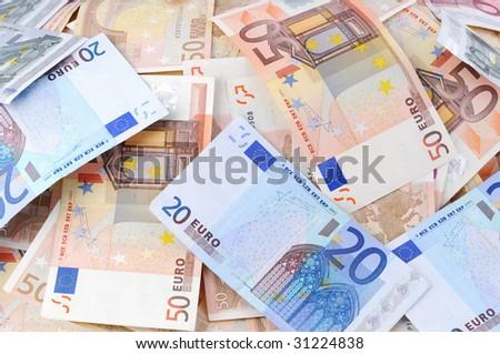 Lots Of 50 20 And 5 Euro Banknotes