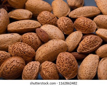 lots of almonds, background, top view