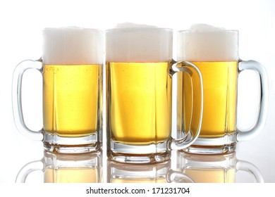 Lots of beer on the white background