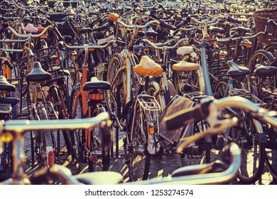Lots of bicycles on parking in Amsterdam