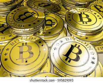 lots of bitcoins - bit coin BTC the new virtual money, 3D Render, illustration