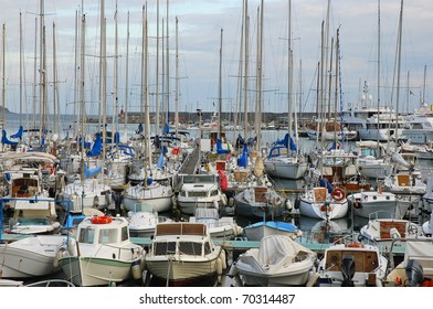 Lots of boats in the port of Sanremo