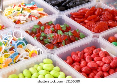 Lots of boxes filled with different kind of candy