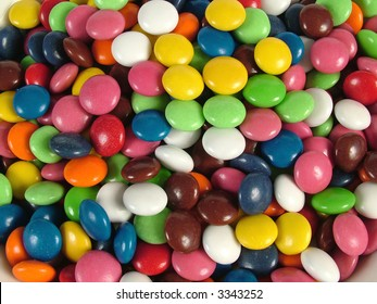 Lots of brightly colored candy up close