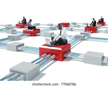 lots of businesspeople wit laptop and 3d virtual connection