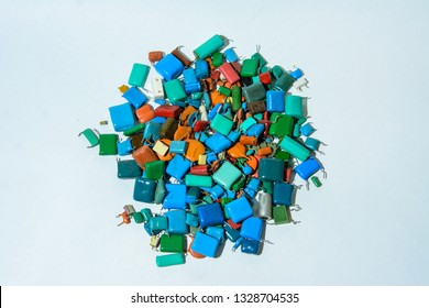Lots of capacitors or different type (ceramic,film and other). On white background