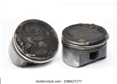 lots of carbon deposits buildup on the top of the piston head.