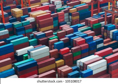 Lot's of cargo freight containers in the Hong Kong sea port.
