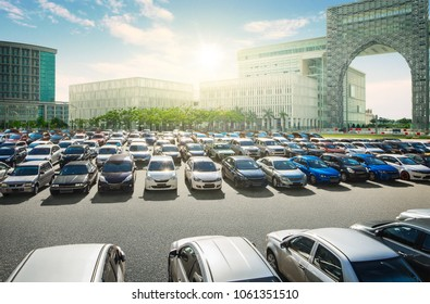 A Lots of cars parked at car park