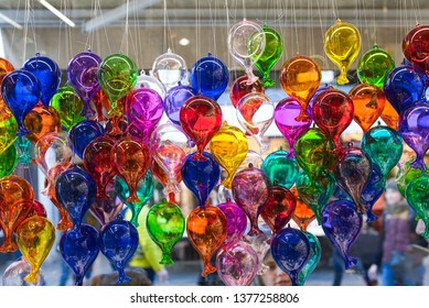 Lots of colorful blown glass balloons