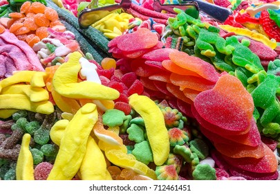 Lots of colorful candy. Close Up.