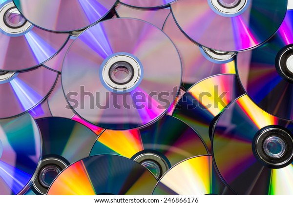 Lots of colorful discs on a pile for background use