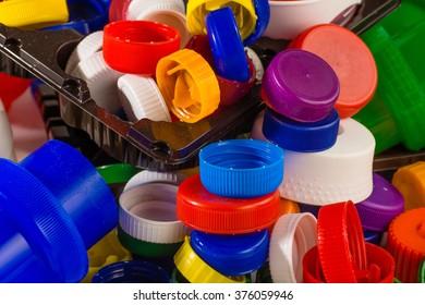 Lots of colorful plastic caps