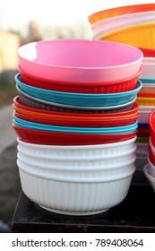 Lots of colorful pots,bowls