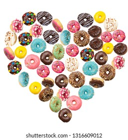 Lots of delicious donuts flying in the air in shape of the heart