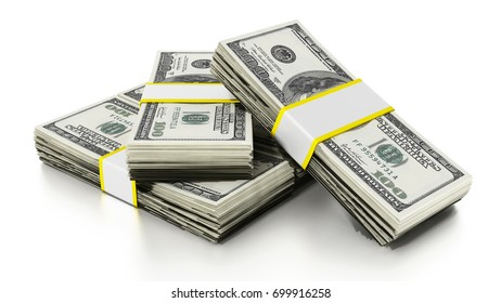 Lots of dollars forming a staircase. 3D illustration.