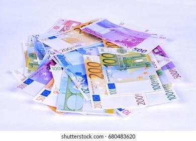 Lots of euro banknotes.