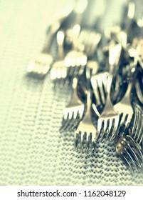 lots of forks, arrangement