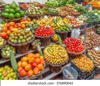 lots of fresh fruits seen at a market in Madeira
