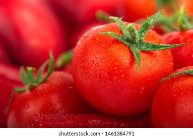 Lots of fresh ripe tomatoes with drops of dew. Close-up background with texture of red hearts with green tails. Fresh cherry tomatoes with green leaves. Background red tomatoes.