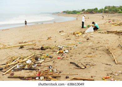 Lots of garbage on the ocean beach. Bali island, Indonesia