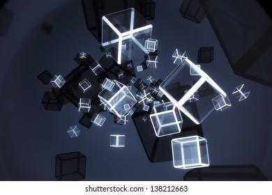 Lots of glow blocks in dark blue background